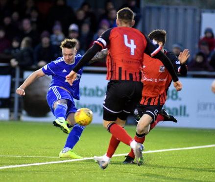 Ryan Strachan in action against Elgin City in December.