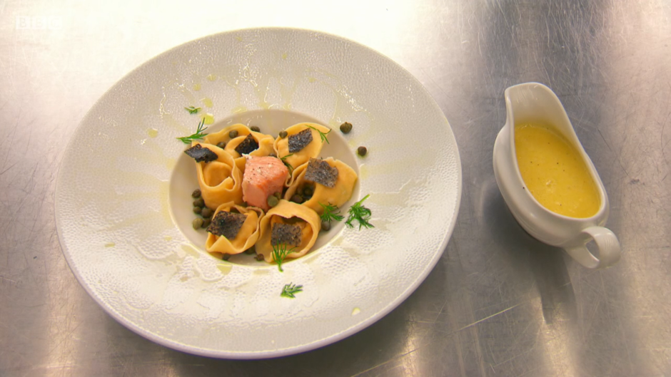 Euan's smoked salmon and ricotta tortellini with a beurre blanc sauce