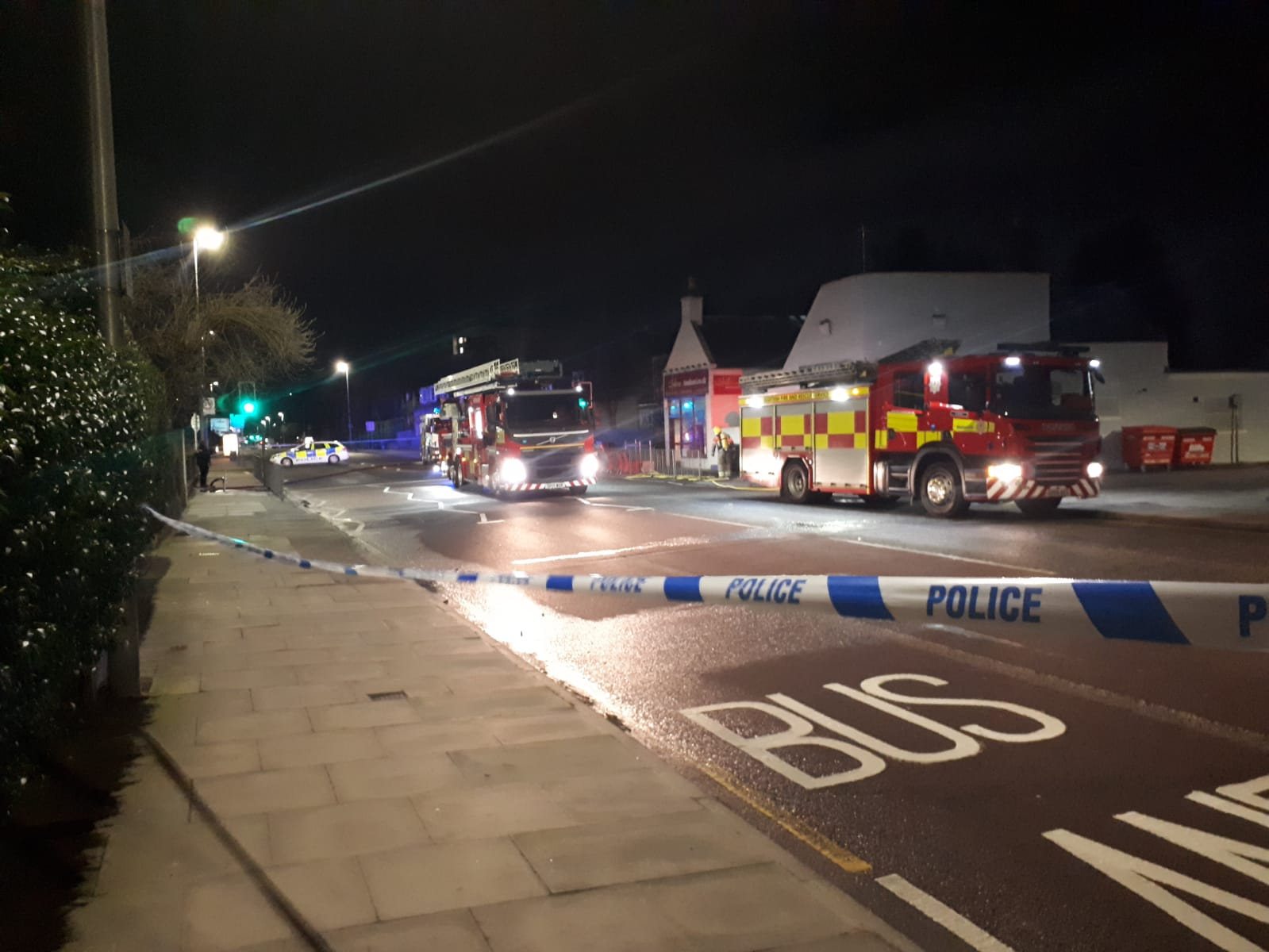 Fire crews remained on scene this morning just before 5am