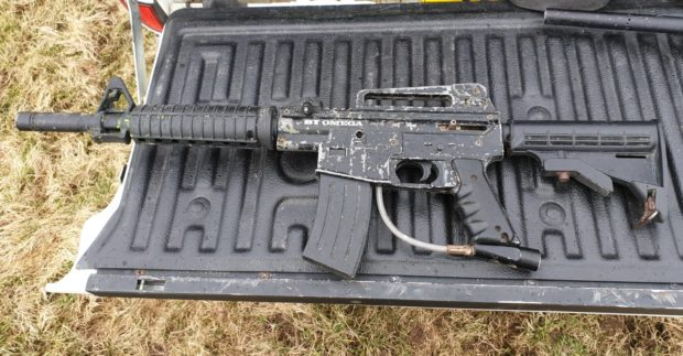 One of the paintball guns