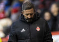 Aberdeen manager Derek McInnes looks dejected at full-time during the Scottish Cup fifth round tie.