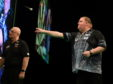 John Henderson in action at the PDC Premier League in Aberdeen.