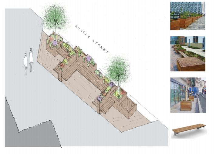 An artist's impression of the parklets, one of which will be built near St James' Episcopal Church, where it is hoped people will sit and relax