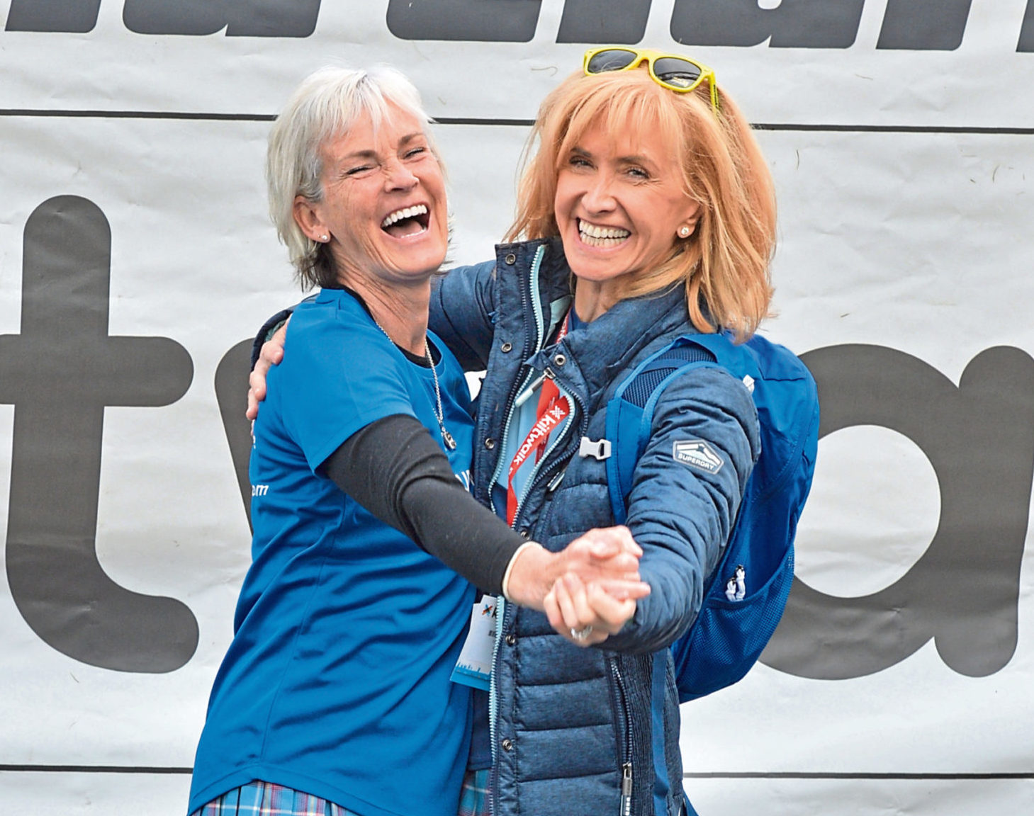 Judy Murray and Jackie Bird dressed in style for the Kiltwalk