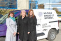 Michelle Herd of AberNecessities alongside Susan Watt and Lesley Milne of Apex Tubular who donated a van to the charity