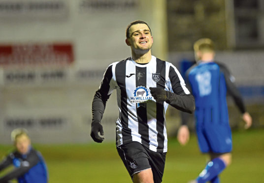 Scott Barbour after making it 3-0. Picture by Scott Baxter