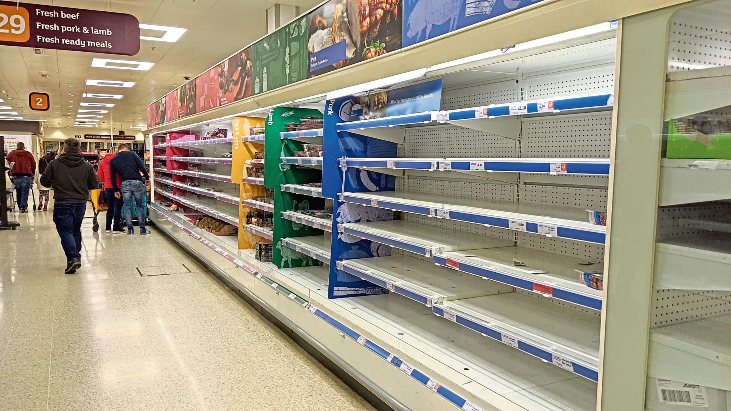 Empty shelves at Sainsbury's Garthdee