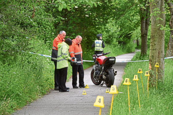 Police at the motorbike crash on the Deeside Way