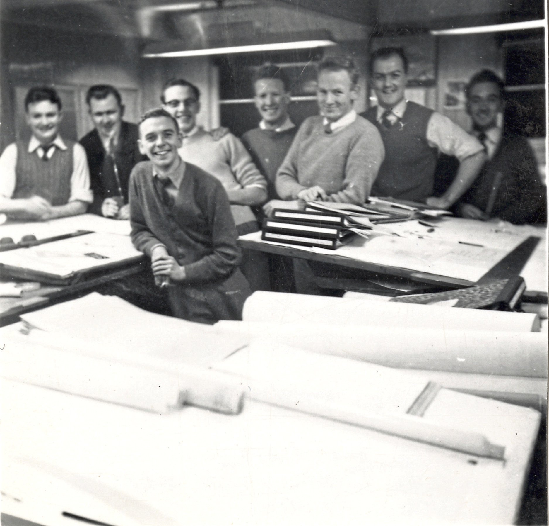 Staff at the John Lewis engineering drawing office in the 1950s