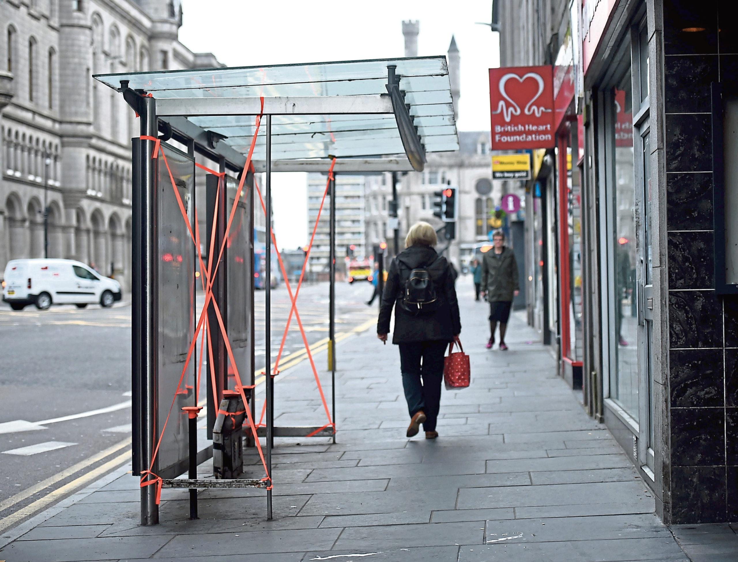 A damaged bus shelter on Union Street