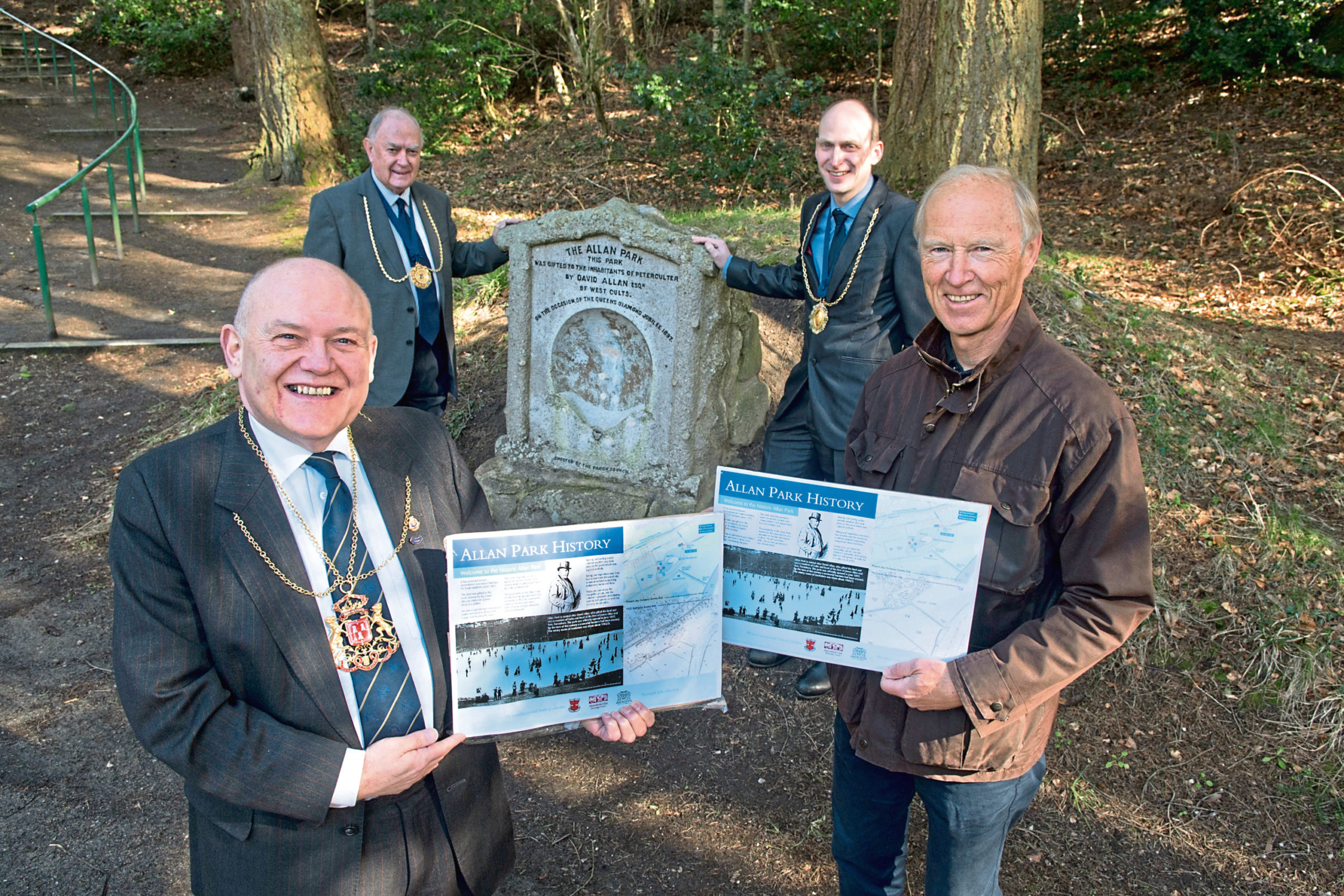 From left, Lord Provost Barney Crockett, Mervyn Donald and Kevin Bowie, of Incorporated Trades, and Iain Clark, Friends of Allan Park