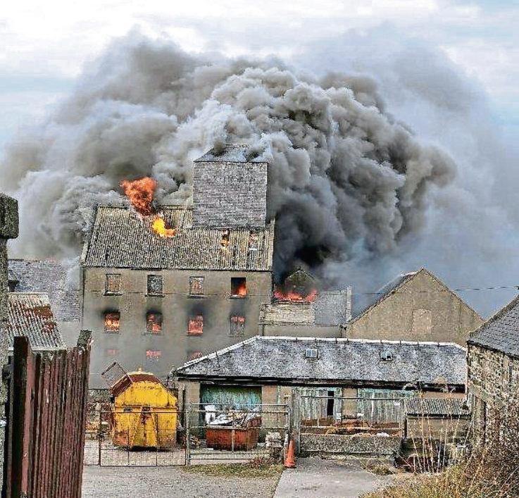 The fire in Macduff yesterday. Picure by  Ian Matthew