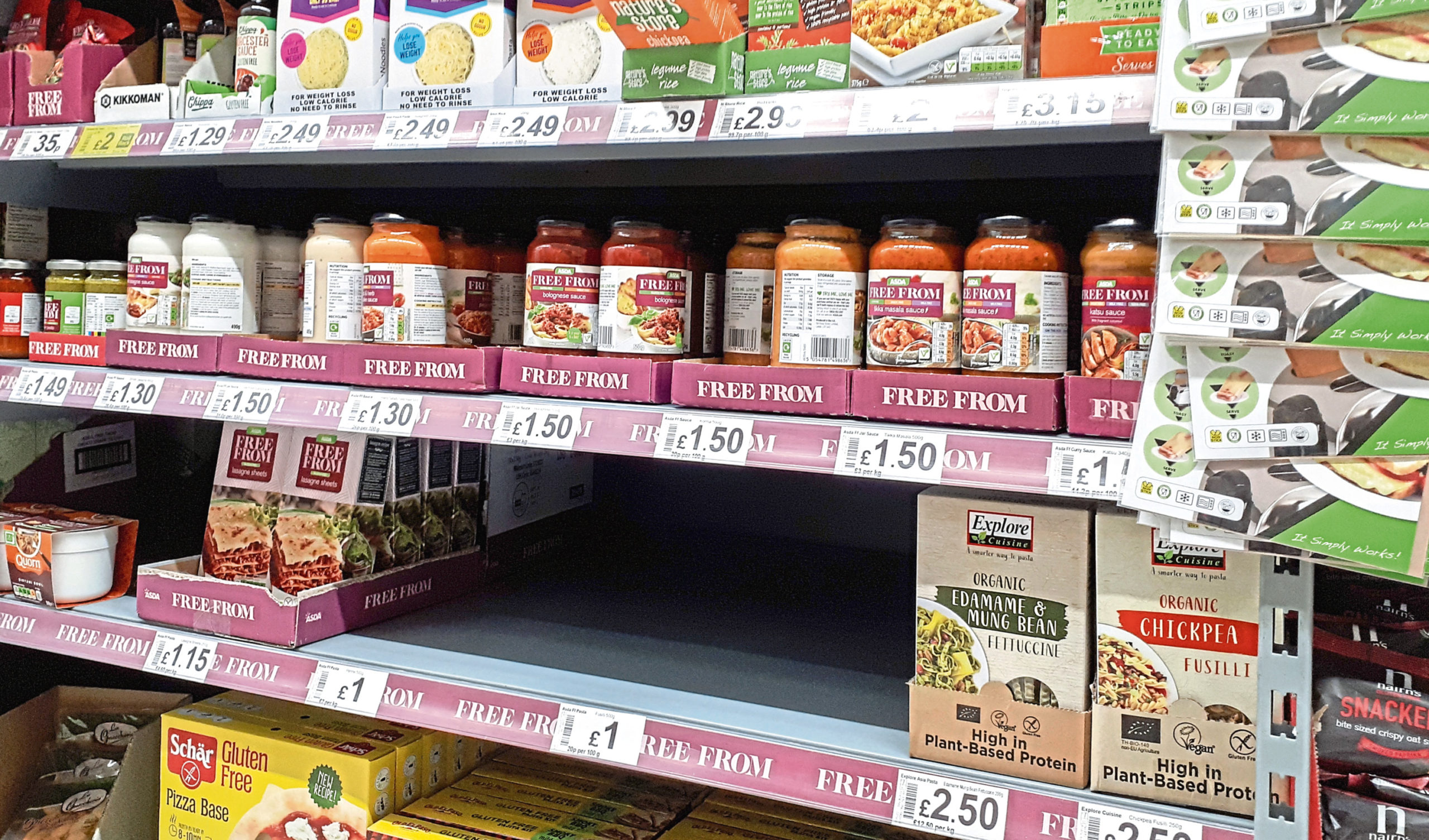 Empty spaces in a supermarket's free-from section
