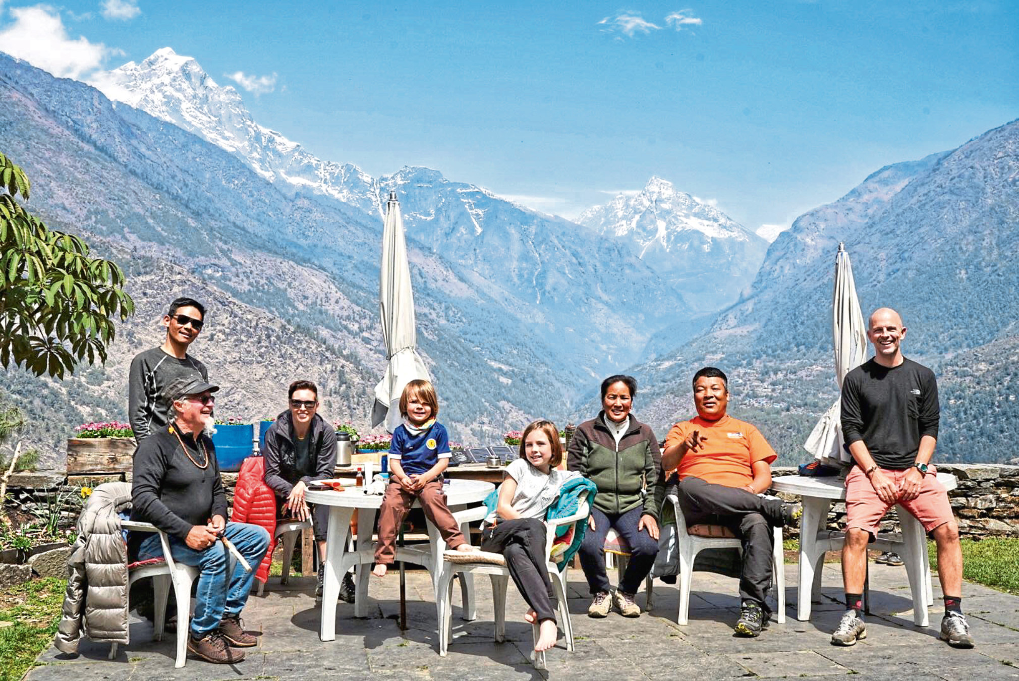 From left, Bruce Campbell from Australia with his sherpa Kevin Aht, Julie Smith, Jacob Smith, Erihn Smith, teahouse owners Ang Deli Sherpa, Pemba Sherpa and Kris Smith