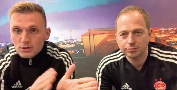 Aberdeen's head of youth academy coaching Gavin Levey, right, with Liam McGarry.