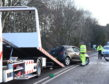 The B9077 South Deeside Road was blocked in both directions this morning. Picture by Paul Glendell