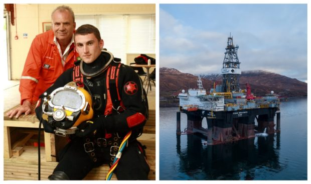 24-year-old Lewis Beddows has been left medically unfit for work after an air diving incident at the Ocean GreatWhite rig in 2018. Pictured left with his father Derek at the Underwater Centre, Fort William.