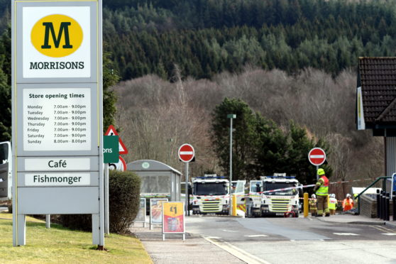 Emergency services attending a gas leak at Morrisons in Banchory