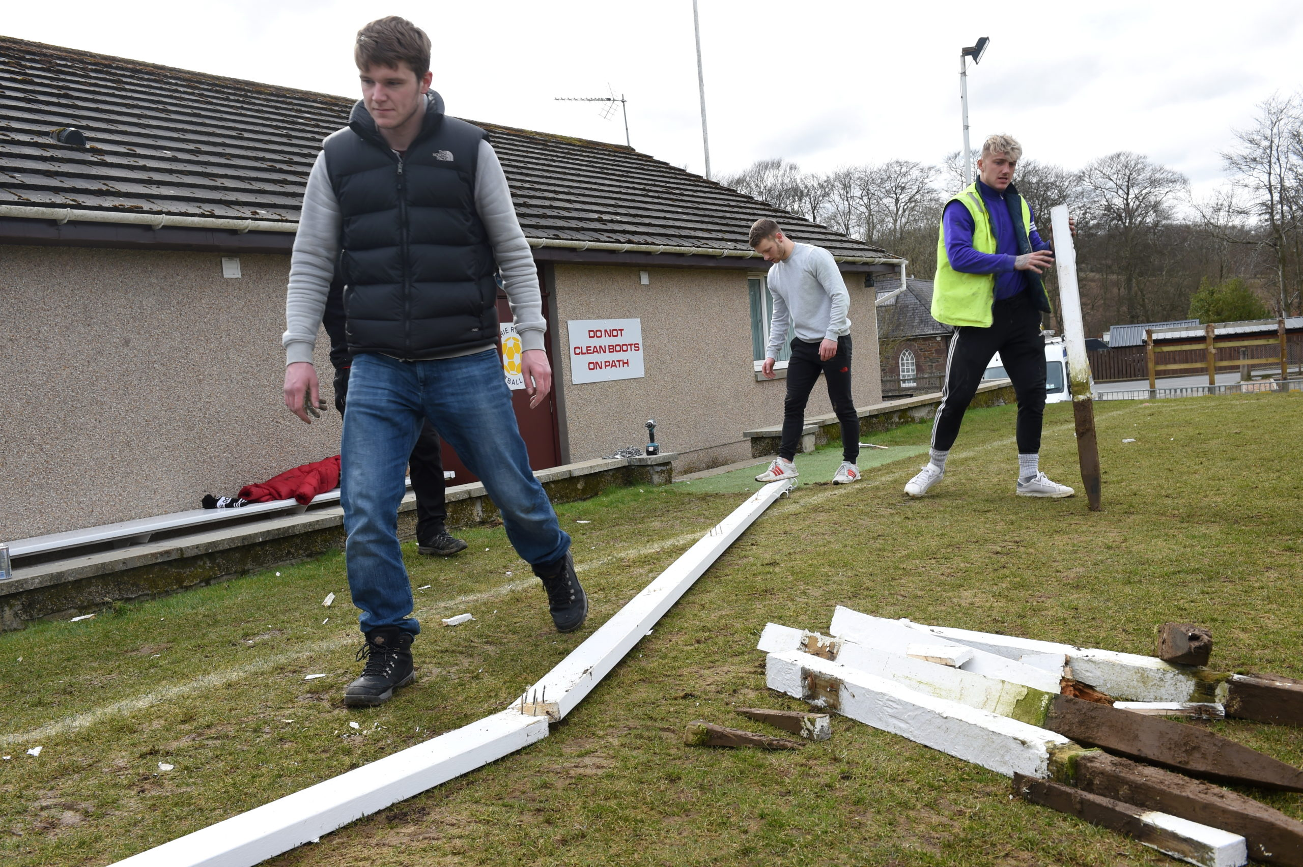 Rothie Rovers' committee, players and management team carrying out improvements to their ground.  Picture by Paul Glendell