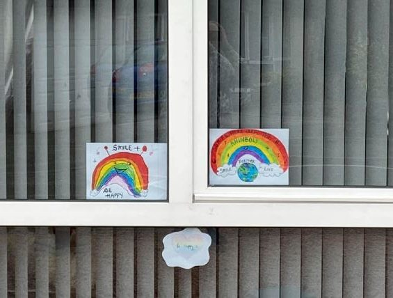 10-year-old Emily and five-year-old Erica's rainbow windows