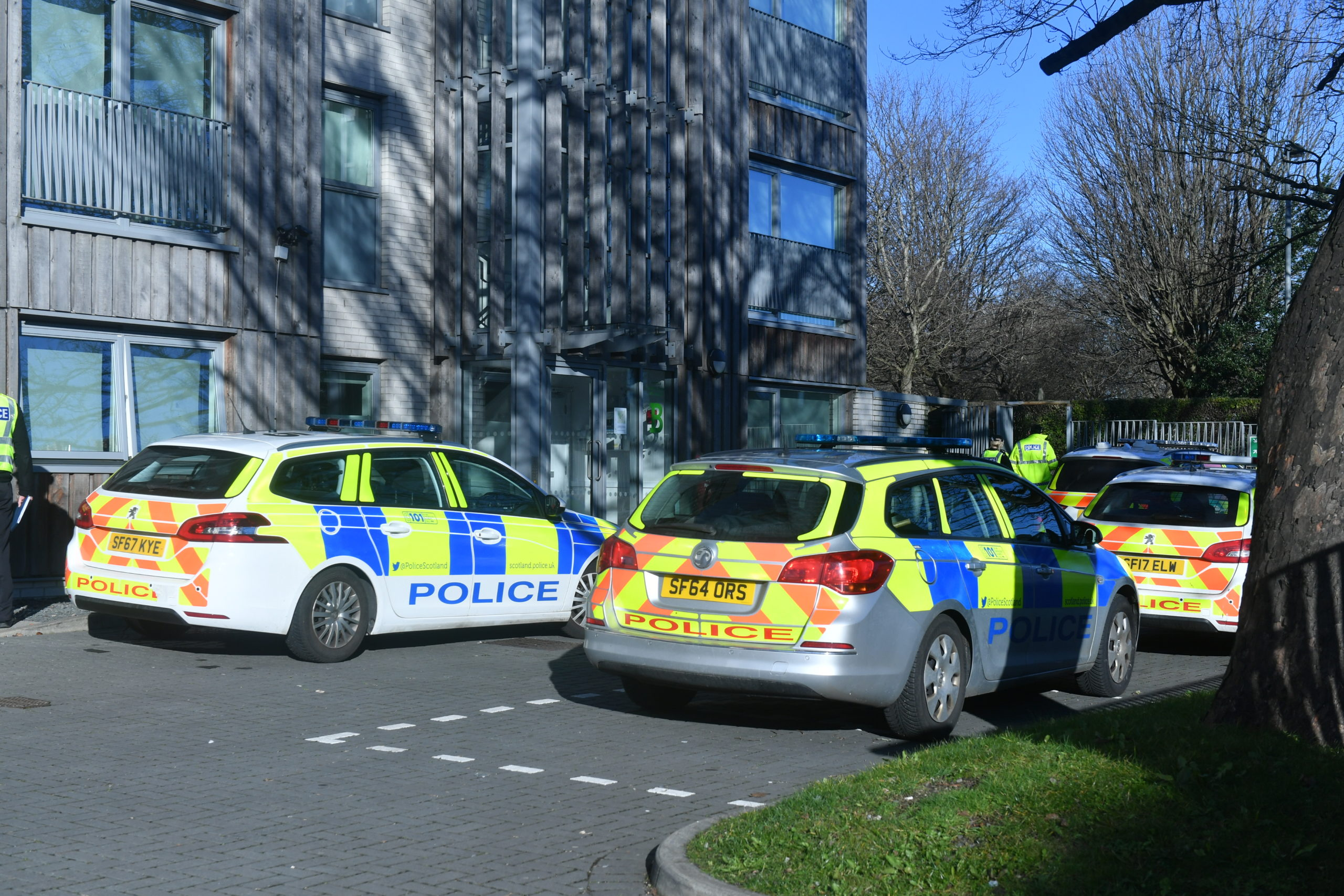 Police at the flats on King Street