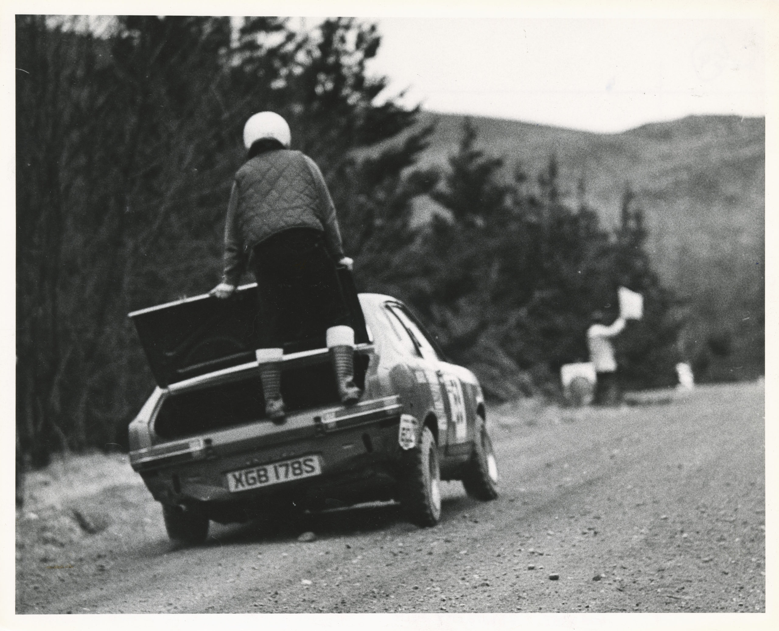 Skene driver Keith Morrison lost a front wheel from his Talbot Avenger and navigator Andrew Hosie rode shotgun at the back of the car in a bid to keep the front clear of the ground
