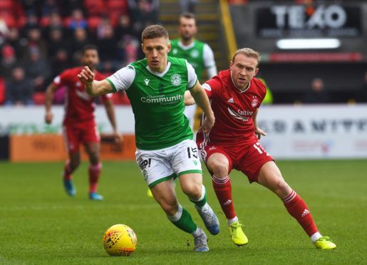 Dylan McGeouch during the Ladbrokes Premiership match between Aberdeen and Hibernian.