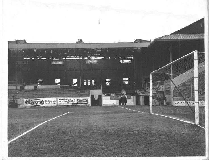 The damage to the Main Stand at Pittodrie from the 1971 fire became clear in daylight.