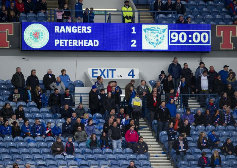 The Ibrox score board shows the story of the game.