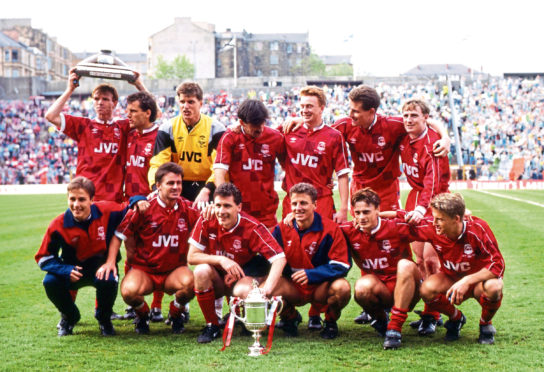 The Aberdeen squad celebrating winning the 1990 Scottish Cup.