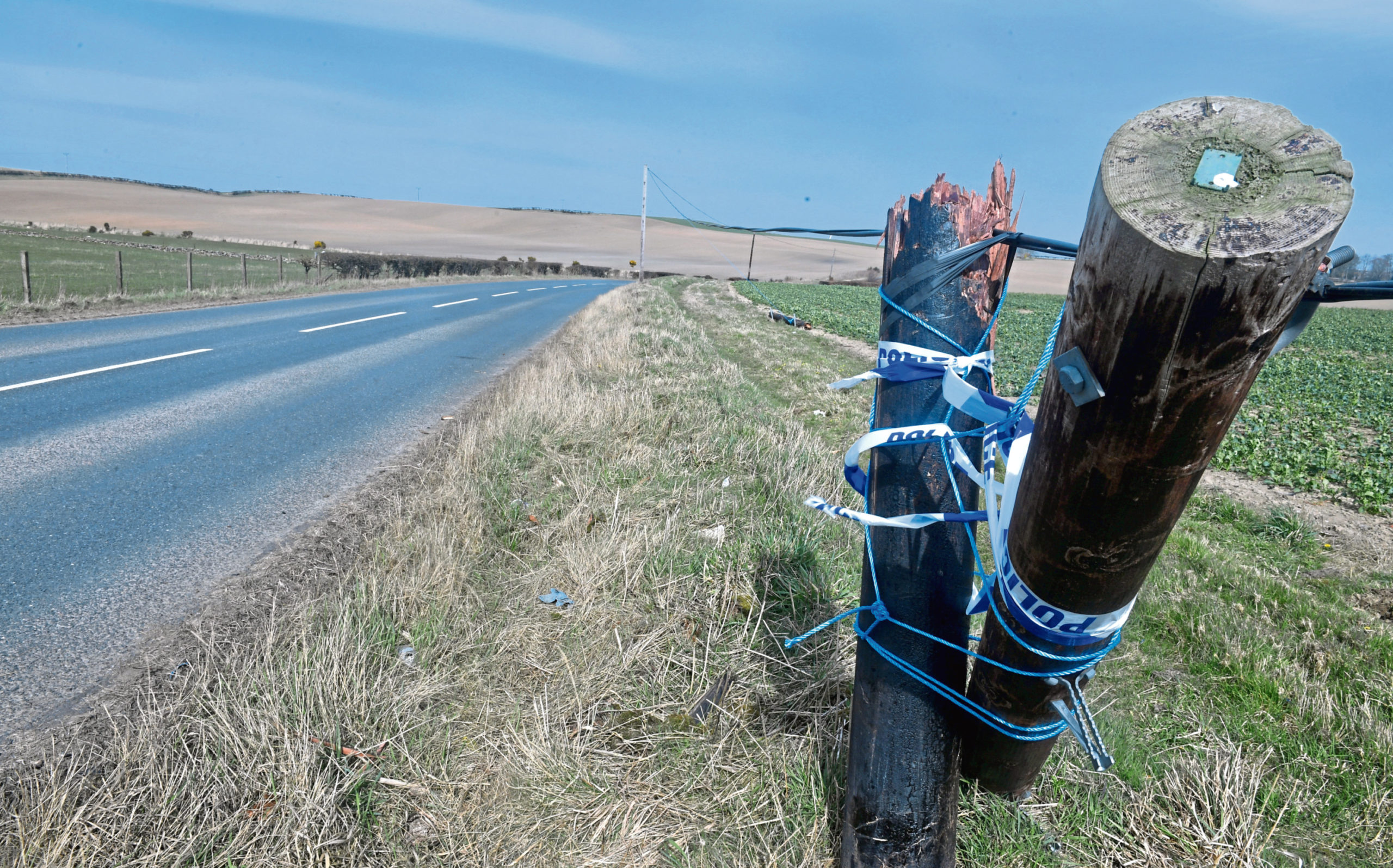 The scene of the crash  on the B9170 Oldmeldrum to Methlick road between Meldrum House Hotel and Formartine's Cafe