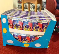 Huntly player Alex Thoirs donated Easter eggs to care homes.