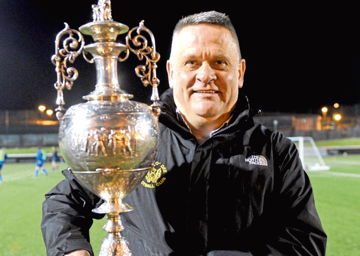 President Brian Winton with the Aberdeenshire League trophy