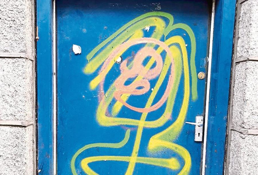 The vandalised door at Cloud3D on Crown Street