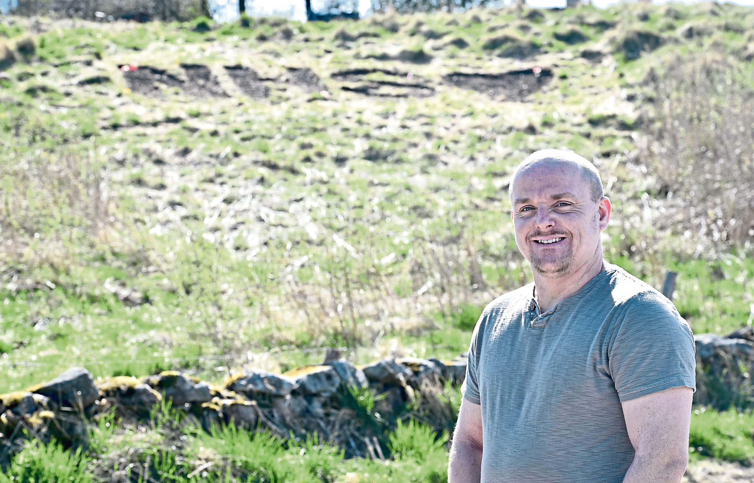 Roy Kemp has created a display for NHS workers on the hills on his land in Portlethen