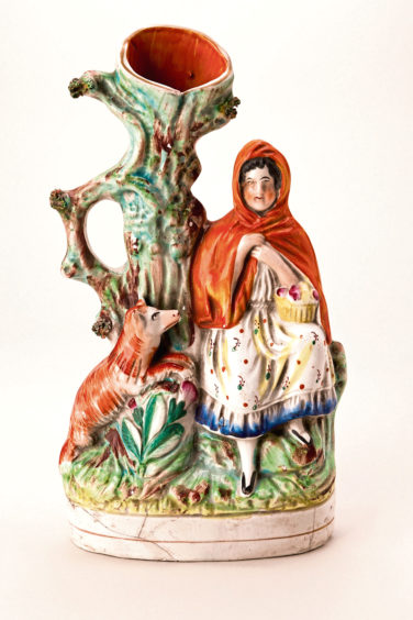 Flat Back Figure of Red Riding Hood, about 1850