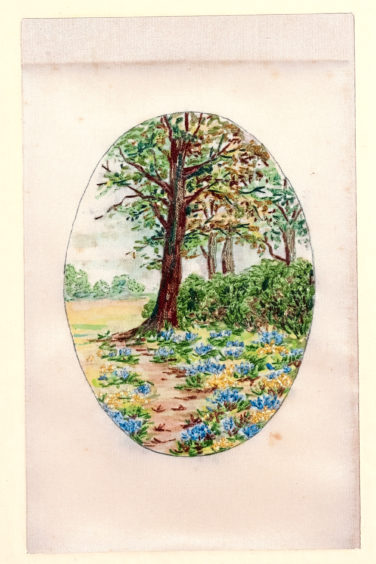 Embroidered Picture of Bluebells by Margaret Winifride Simpson