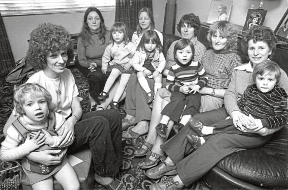 A meeting of Altens Women's Action Group in the home of Rosetta Gray, left, who was vice-chairwoman of the Altens Tenants' Association