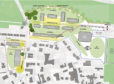 The masterplan site map for the former Ellon Academy showing sites for residential and health care use