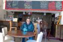 Licensee Sandy Elrick at an empty Bennachie Lodge