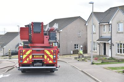 Fire crews in attendance at the blaze in Westhill