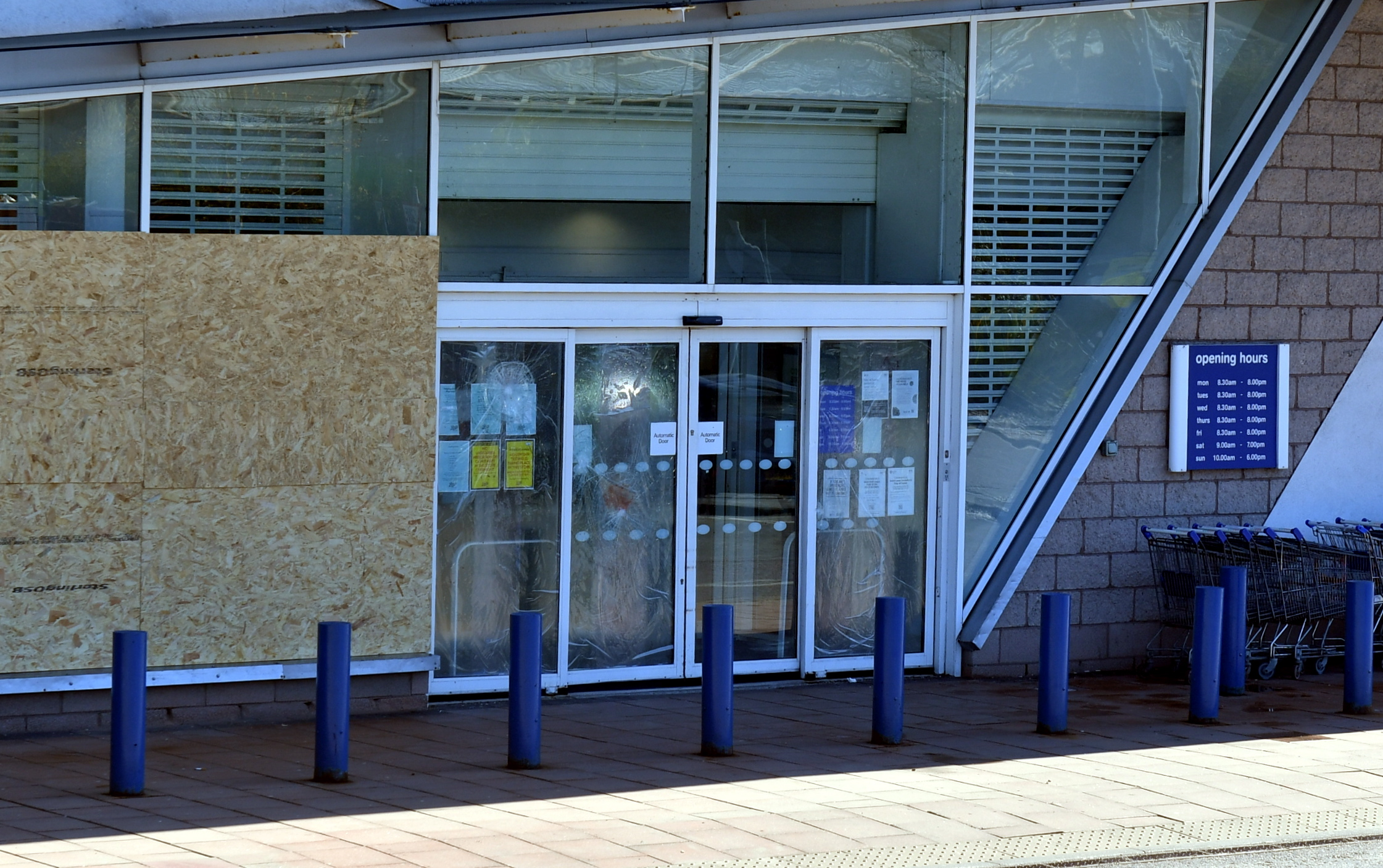 The front of the Boots store in Garthdee was badly damaged