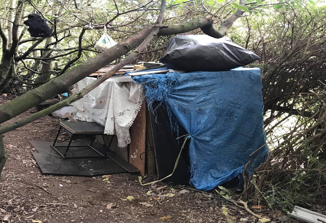 The man's woodland home after he fell out of employment
