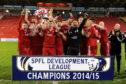 Aberdeen celebrate winning the SPFL Development League.  Picture by Kenny Elrick