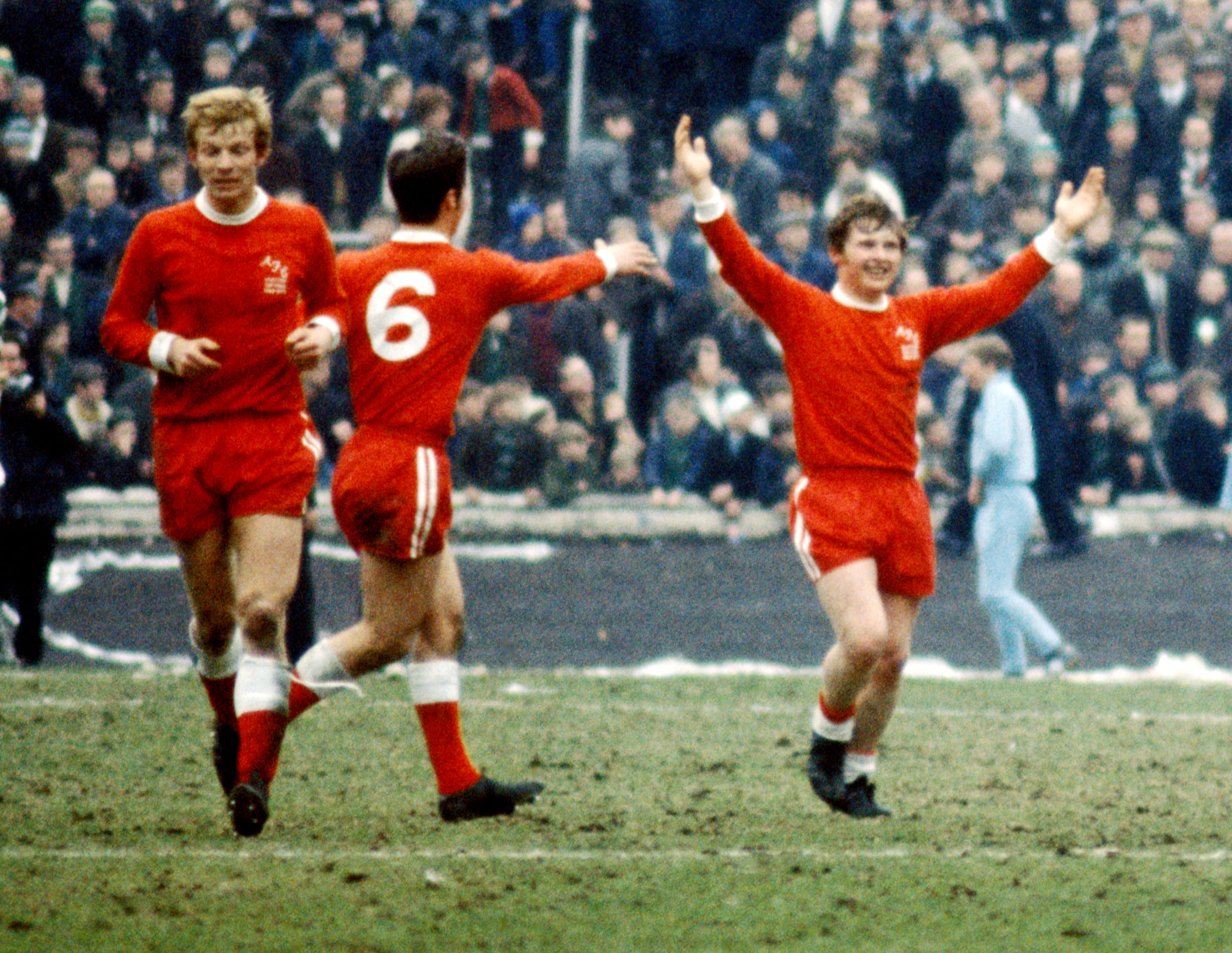 Aberdeen's Joe Harper (right) celebrates scoring in the 1970 Scottish Cup final.