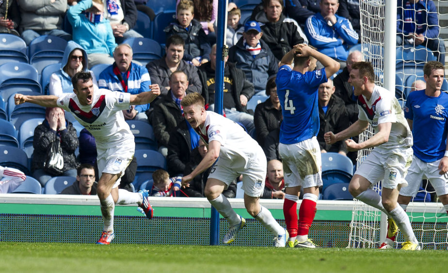20/04/13 IRN-BRU SFL DIV 3 RANGERS v PETERHEAD (1-2) IBROX - GLASGOW Peterhead star Scott Ross (left) celebrates his equalisier.