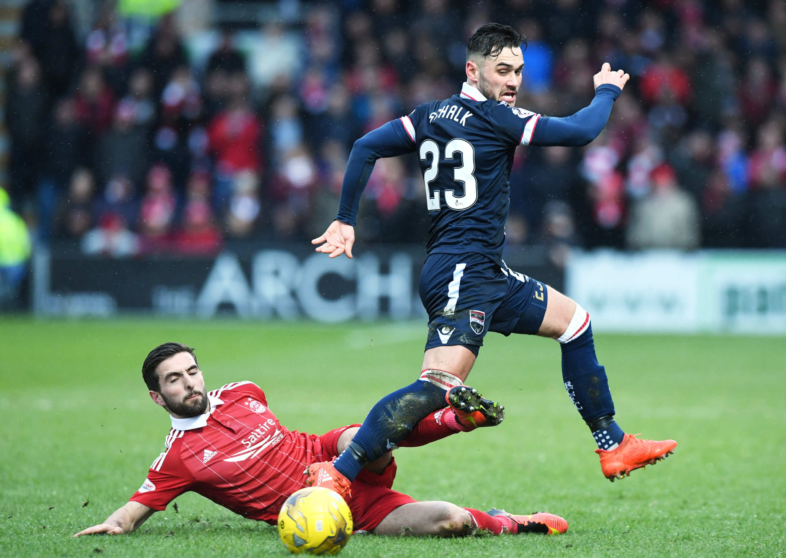 Alex Schalk in action against Aberdeen.