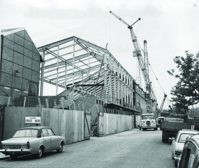 Progress being made on rebuilding the Main Stand four months after the 1971 fire.