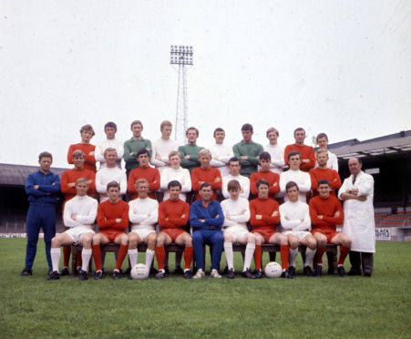 The Aberdeen squad in season 1969/70 - Back row, left to right; Davie Robb; Tommy McMillan; Ernie McGarr; William Young; Andy Geoghegan, Jim Kirkland; Bobby Clark; William McGrath; Alex Smith; Tommy Corkan Middle row, left to right; Teddy Scott (Assistant Trainer); Jim Whyte; George Murray; Jimmy Smith; Tommy Sutherland; Jens Petersen; Alex Grant; Martin Buchan; Terry McCarthy; Henning Boel Front row, left to right; George Buchan; Alex Willoughby; Tommy Rae; Jim Forrest; Eddie Turnbull; George Adams; Jim Hamilton; Tommy Wilson; Jim Hermiston.