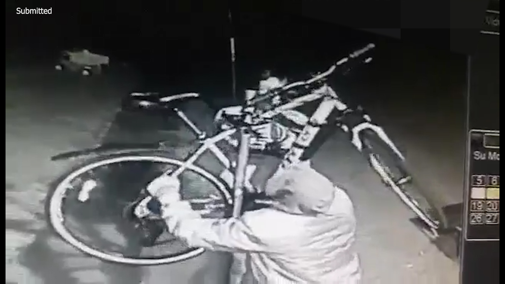 A screenshot from the CCTV showing the theft at Printfield Terrace